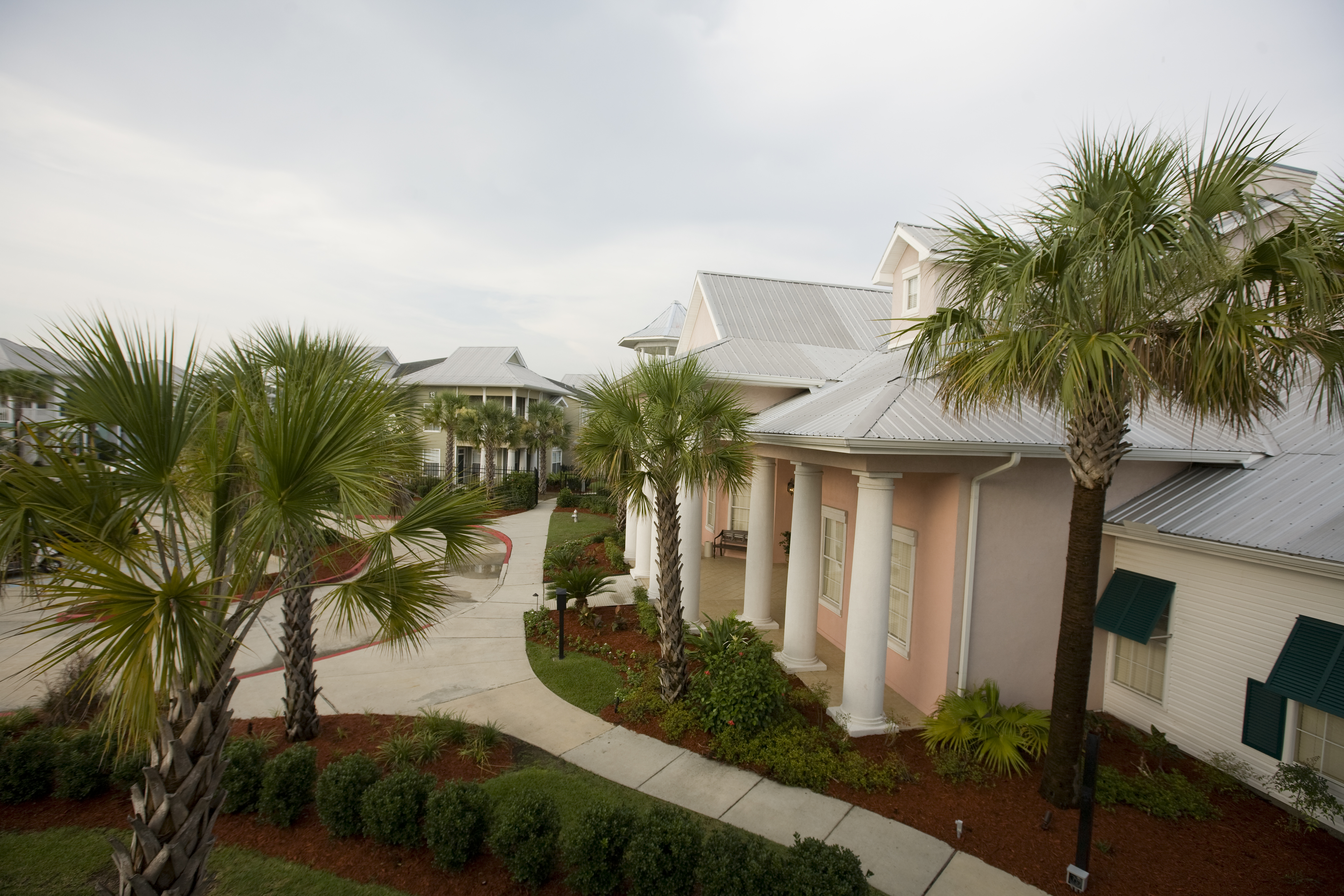 Pathway in front of Calypso Bay Clubhouse and Offices