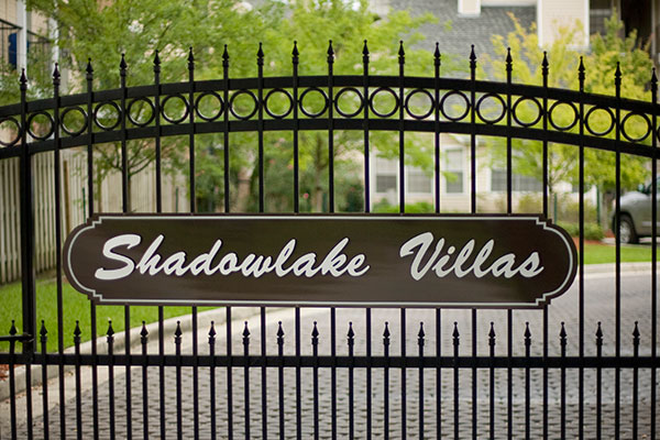 Shadowlake Villa Apartments Entrance Gate with sign